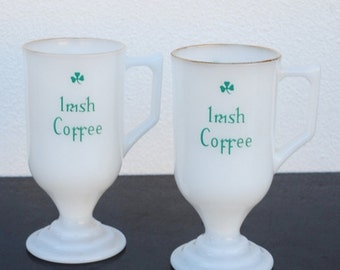 Vintage Irish Coffee Cups, White Glass Footed Mug, Green Shamrocks, Set of Two (2)