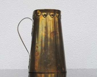 Antique Arts & Crafts Brass Copper Tankard Vase, Metal Ware Signed Collectible Decor