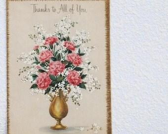 Vintage Hallmark Greeting Card, Unused 1950s Pink Carnation Flower Bouquet, Gold Embossed Glitter