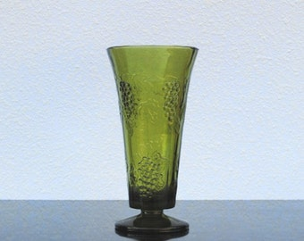 Avocado Green Glass Indiana Vase, Tall Textured Art Glass 1970s Vintage