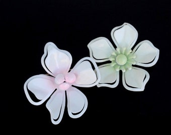 Two Flower Brooch Pins, Vintage White Pink & Mint Green Retro Set