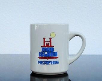 Vintage Memphis Souvenir Mug Coffee Cup, 1980s Mud Island TN Pencil Holder Collectible