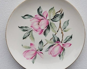 Homer Laughlin Pink Magnolia Rhythm China Art Plate, 1950s Vintage Dinnerware
