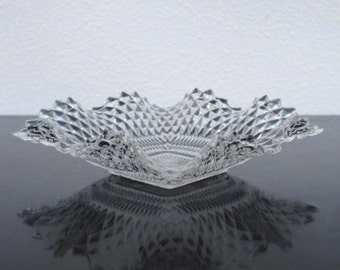 Vintage Glass Bon Bon Candy Dish, Ruffled Diamond Pattern Ashtray
