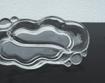 Vintage Duncan & Miller Canterbury Glass Pickle Dish, Swirl Divided Two Part Serving, 1939-1955