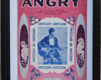 """1920s Nick Lucas Chicago Sheet Music, """"Angry"""", Deco Art Print to Frame"""