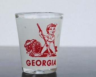 Vintage Georgia Shot Glass, Southern Rebel Little Boy, 1950s Kitsch Red & White Graphics
