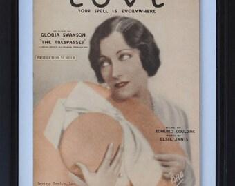 "Gloria Swanson Hollywood Art Nouveau Print to Frame, 1920s Irving Berlin Sheet Music, ""Love"""