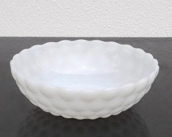 Vintage White Glass Bubble Bowl, 1940s Depression Era Decor or Serving