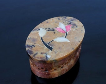 Vintage Ring Box, Hand Carved Soapstone Inlaid Mother of Pearl Flowers
