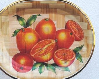 Vintage Bamboo Tray, Oranges, Fruit Kitchen Decor or Serving