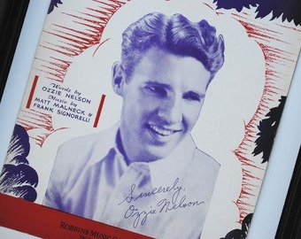 1930s Ozzie Nelson Vintage Sheet Music, Collectible Art Print to Frame