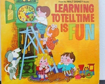 1960s Disneyland Record Book, Vintage Disney Illustrations, Learning To Tell Time is Fun