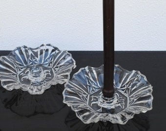 Ruffled Depression Glass Candlesticks Holders, Heavy Pioneer Intaglio Fruit Pattern by Federal