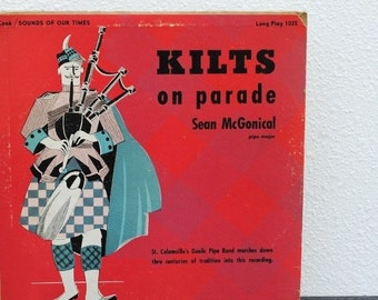 "1950s Scottish Bagpipe LP Record Album, Extremely RARE, Fab Cover Art to Frame, ""Kilts on Parade"" 10"" 33 RPM"