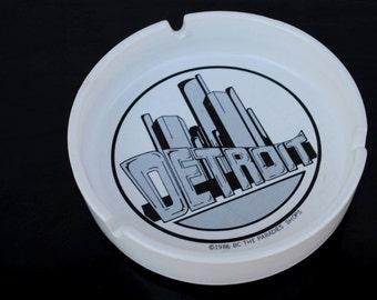 Vintage Detroit City Ashtray Dish Tray Change Holder, Man Cave Collectible 1980s Black White Skyline Graphics