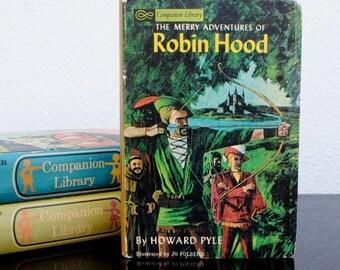 Vintage Childrens Flip Book, 1965 Robin Hood & The Little Lame Prince, Boys Room Decor, Illustrated Hardcover Storybook