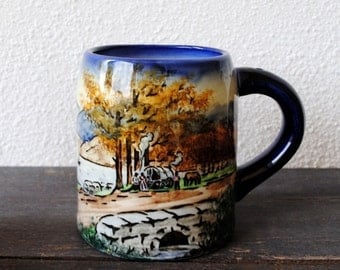 Old German Beer Mug, Majolica Hand Painted Country Road Scene, Majolika Germany