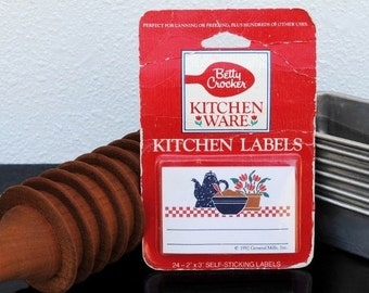 Vintage Kitchen Print Labels, 24 Betty Crocker Canning Stickers, Unused Supply New Old Stock