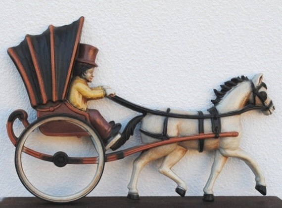Gothic Vintage Decor, Horse Drawn Carriage Wall Plaque, Homco 1970s Time Travelers