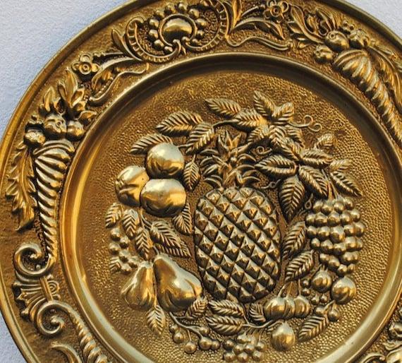 Brass Kitchen Wall Decor : Vintage brass pineapple hammered wall plaque antique gold