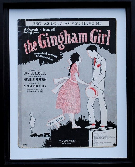 Vintage New York Art Print to Frame, Romantic Gingham Girl 1920s Musical Sheet Music