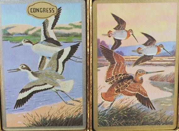 Vintage Wild Game Duck Playing Cards, 1970s Congress Double Deck, Sealed Original Box