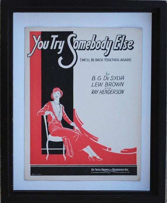 Deco Art to Frame, 1930s Striking Black White & Red Vintage Sheet Music