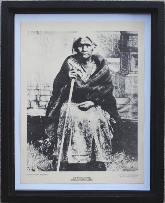 Vintage Native American Library Poster Print to Frame, Navajo Medicine Woman, Black & White Wall Art Decor