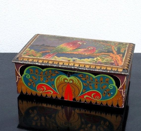Dutch De Jong Cocoa Tin Box, Art Deco Parrot Bird Treasure Chest, Rare Collectible Decor, 1920s Vintage Antique
