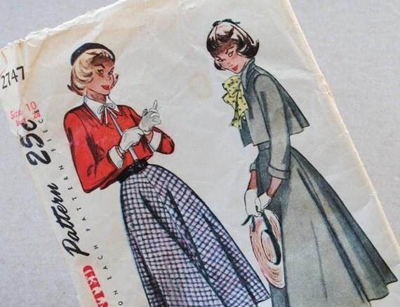 1950s Simplicity Pattern 2747, Bolero Suit Dress Cuffs & Collar, Size 10