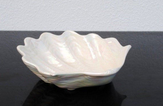 Vintage California White Pottery Seashell Bowl Mid Century