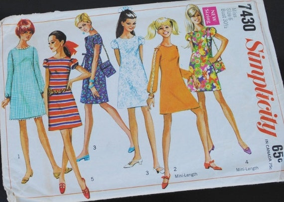 1960s Mini Dress Simplicity 7430, Twiggy Swing & Bag, Size 6, Vintage Sewing Pattern