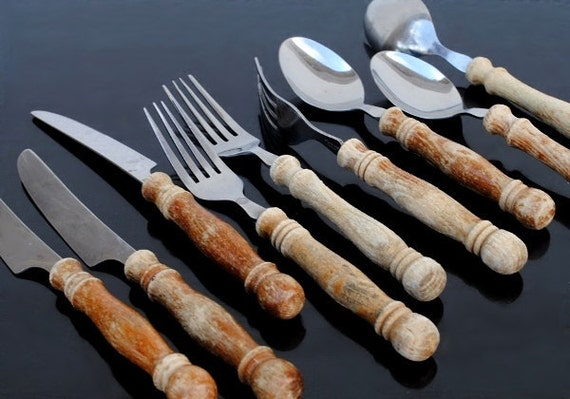 Rustic wood handle flatware silverware by vintageeclecticity - Flatware with wooden handles ...