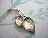 CALLA LILY Flowers Pendant, 2 Pcs, 38x15 mm, Silver Plated Brass .. nature.organic floral brides bridal. P99..