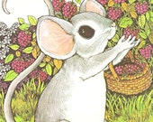 """Mouse Picking Raspberries - Vintage Matted/Mounted Book Illustration 8"""" x 10"""" - Ready to Frame"""