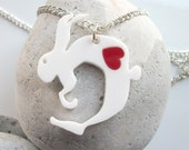 Quentin the Hare acrylic Necklace with a swappable coloured heart