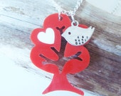 Tree Necklace with a Cute Bird charm and swappable hearts