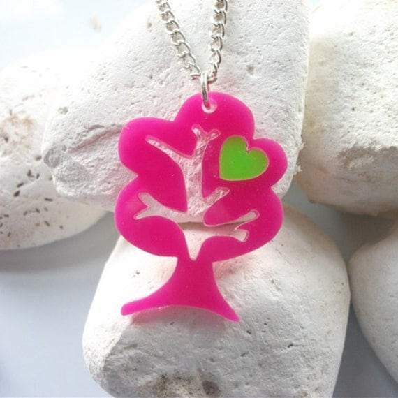 Tree Folk Art Acrylic Necklace with a replaceable coloured heart