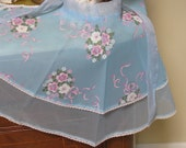 Vintage APRON / Sea BLUE 50's Retro Floral with FLOCKING Nylon Vintage Fancy Elegance