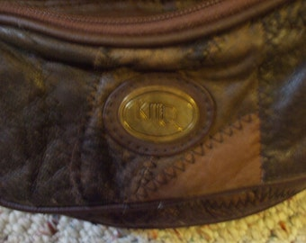 vintage leather patchwork belt pack