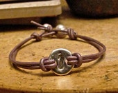 INITIAL BRACELET- Fine Silver Leather Bracelet with Freshwater Pearl Clasp