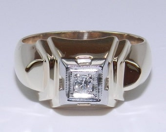 Diamond Solitaire Ring Antique Vintage Ring Estate Hand Made Yellow Gold Size 6.5