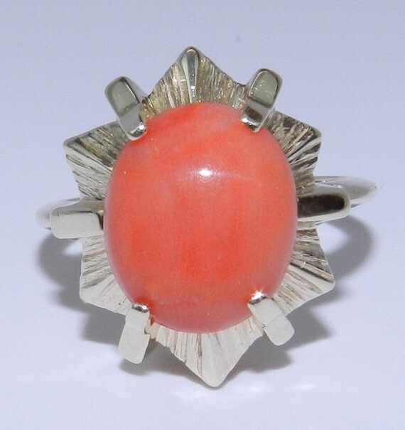 RESERVED Coral Solitaire Ring Vintage Estate Cocktail 14K Yellow Gold Circa 1940's Size 6