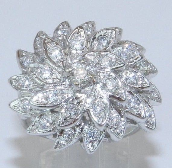 RESERVED for Jeff Vintage 14K White Gold Diamond Cluster Cocktail Ring