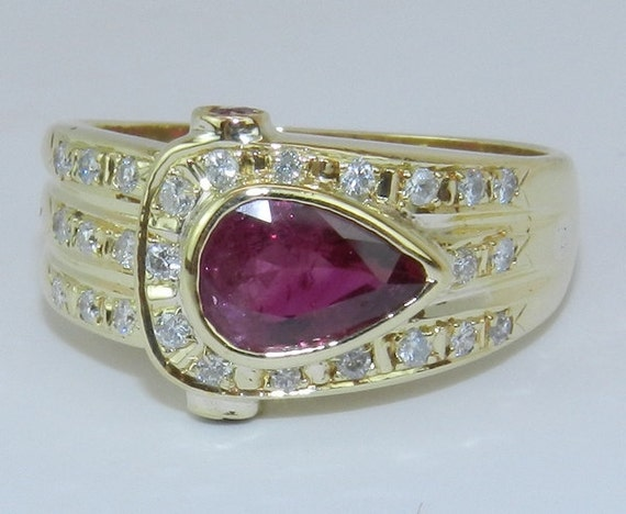 18K Yellow Gold Diamond and Pear Ruby Unique Cocktail Ring Mothers Band