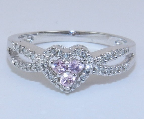 14K White Gold Diamond and Pink Sapphire Heart Promise Ring