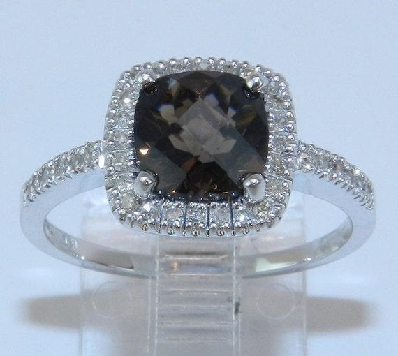 Reserved for Chris 14K White Gold Diamond & Cushion-Cut Smokey Topaz Halo Engagement Style Ring