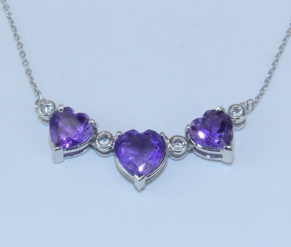 14K White Gold White Sapphire & Heart Amethyst UNIQUE Necklace Chain