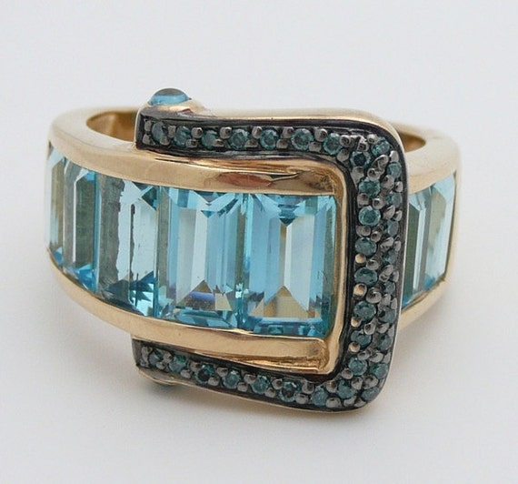 Diamond and Blue Topaz Belt Buckle Ring 14K Yellow Gold Band Brilliant Size 7